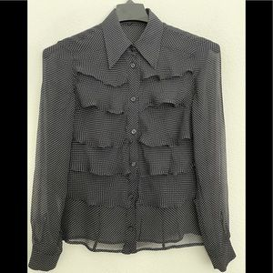 ESCADA 36 S gorgeous fully ruffled silk blouse